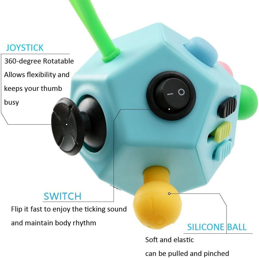 Jim/'s Store Juguete Antiestr/és Stress Cube 12 Lados Cubo de Descompresi/ón Juguete de Atenci/ón a la Ansiedad Juguete de Dedo Sensorial para Adultos y Ni/ños