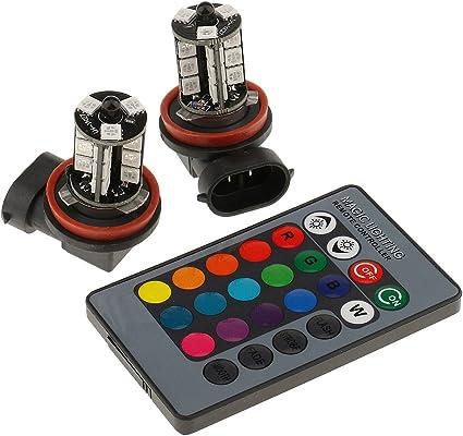 Multicolor h11 h8 MagiDeal LED Luz de Faro Bombilla de Niebla Conducci/ón de Control Remoto para Veh/ículos