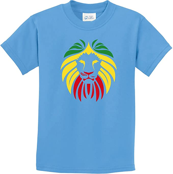 3c104a80b Kids Rasta Lion Head Youth T-Shirt, Aquatic Blue, Small. Roll over image to  zoom in. Buy Cool Shirts