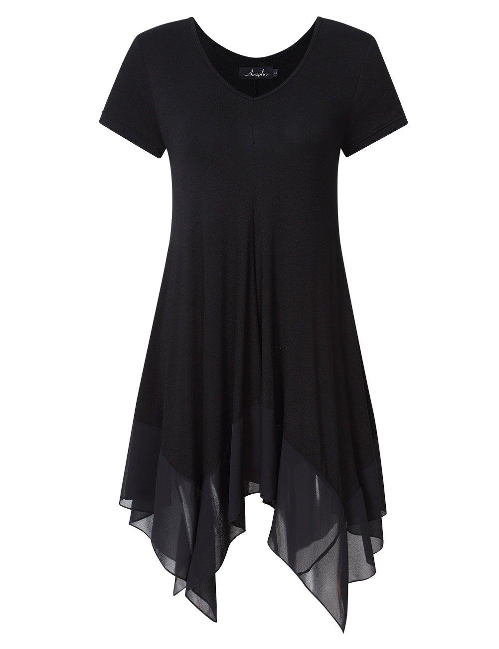 AMZ PLUS Womens Plus Size Short Sleeve Spliced Asymmetrical Tunic Top Black 3XL