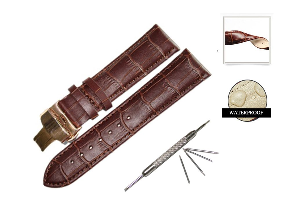 Watch Band Replacment For Men Women 18mm Calf Leather Stitched Replacement Watch Band Rose Gold Deployment Buckle Strap-Brown