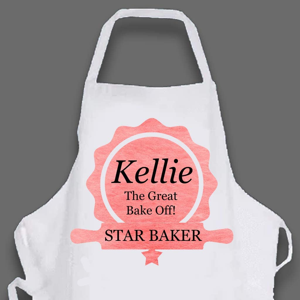 red Large star baker printed apron personalised black or pink apron