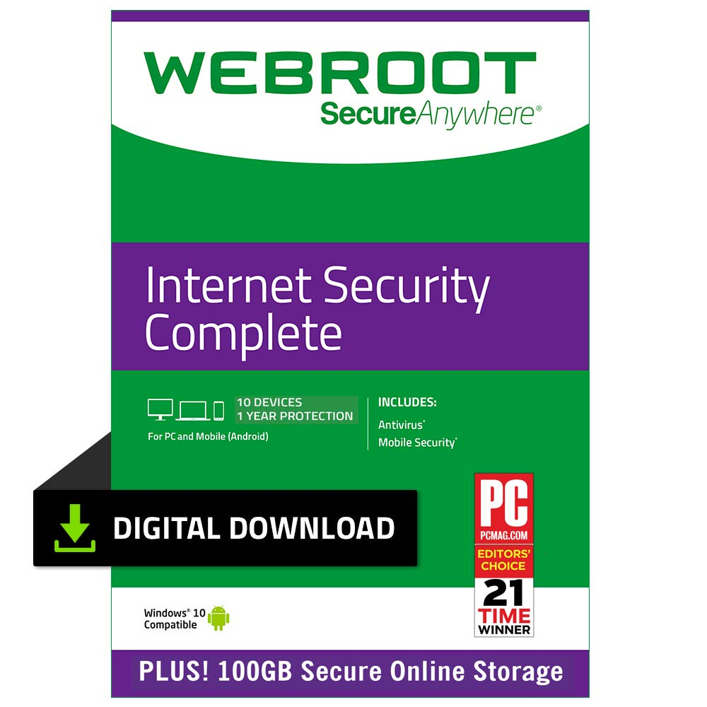 Webroot Internet Security Complete with Antivirus Protection - 2019 Software | 10 Device | 1 Year Subscription | PC Download by Webroot