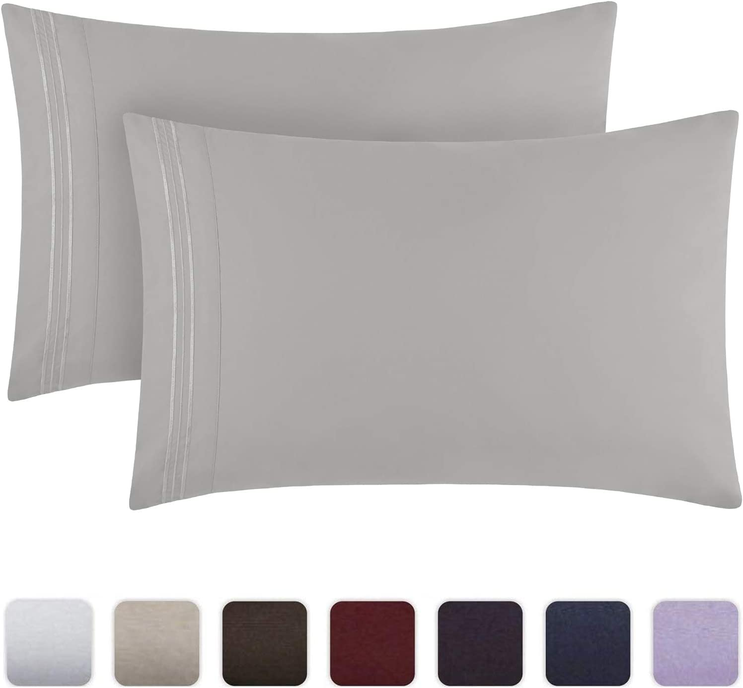 Mellanni Luxury Pillowcase Set - Brushed Microfiber 1800 Bedding - Wrinkle, Fade, Stain Resistant - Hypoallergenic (Set of 2 Standard Size, Light Gray): Home & Kitchen