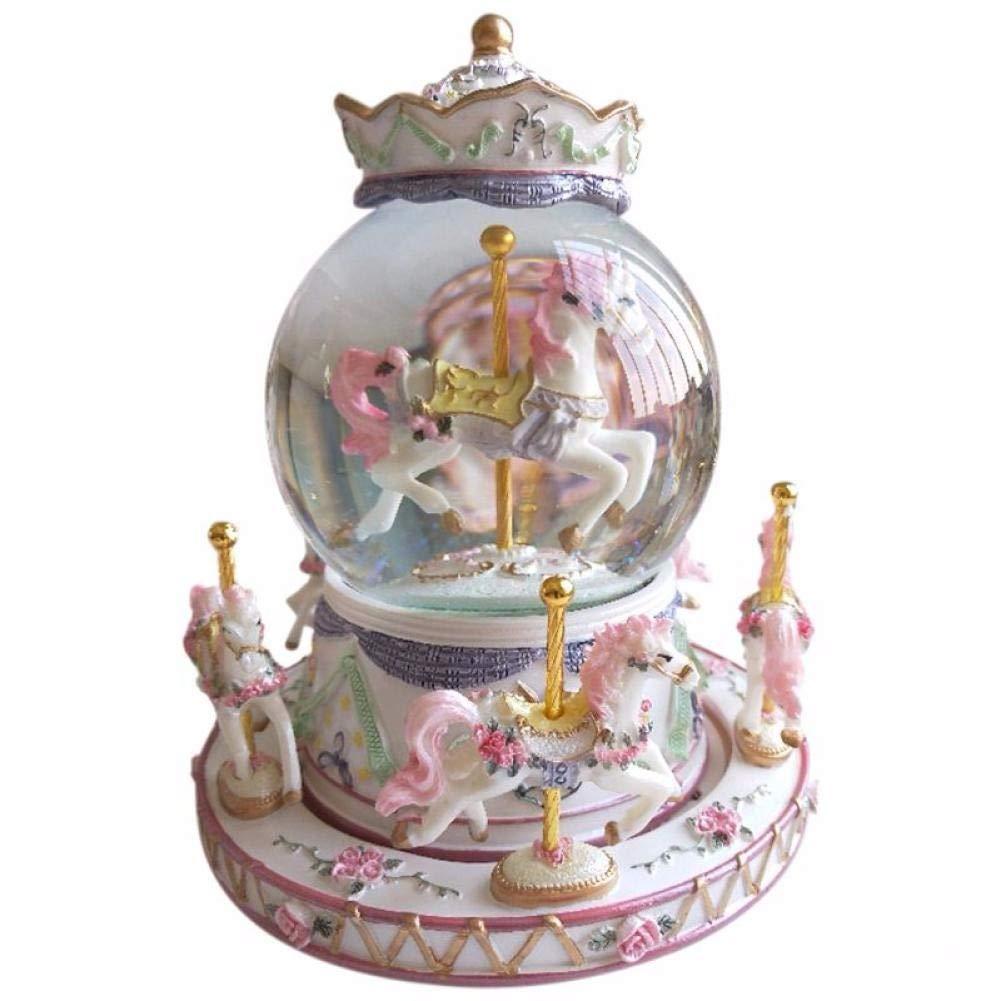 Caja de m/úsica giratoria carrusel Bola de Cristal Juguete a/éreo Castillo decoraci/ón del hogar Adornos adecuados para Familiares y Amigos