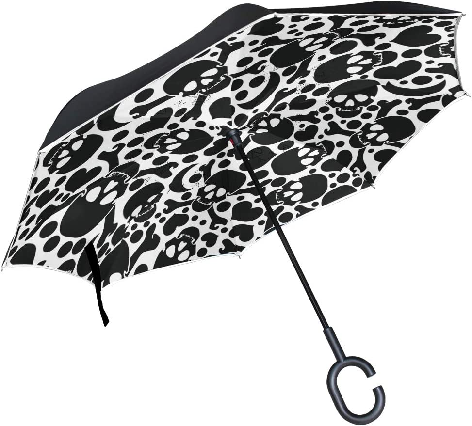 AHOMY Large Double Layer Inverted Umbrellas Black and White Skull Heart Outdoor Rain Sun Car Reverse Umbrella