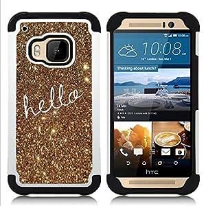 """HTC One M9 /M9s / One Hima - 3 en 1 impreso colorido de Altas Prestaciones PC Funda chaqueta Negro cubierta gel silicona suave (Texto de navidad del oro del brillo de Bling"""")"""
