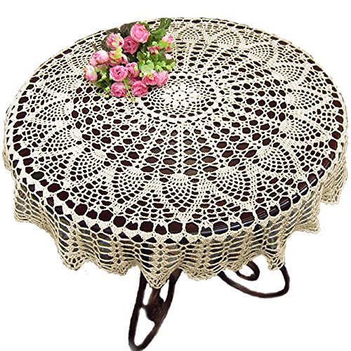 KEPSWET 26 inch Round Beige Crochet Tablecloth Cotton Handmade Sunflower Lace Doily Table Cloth Overlay Decor