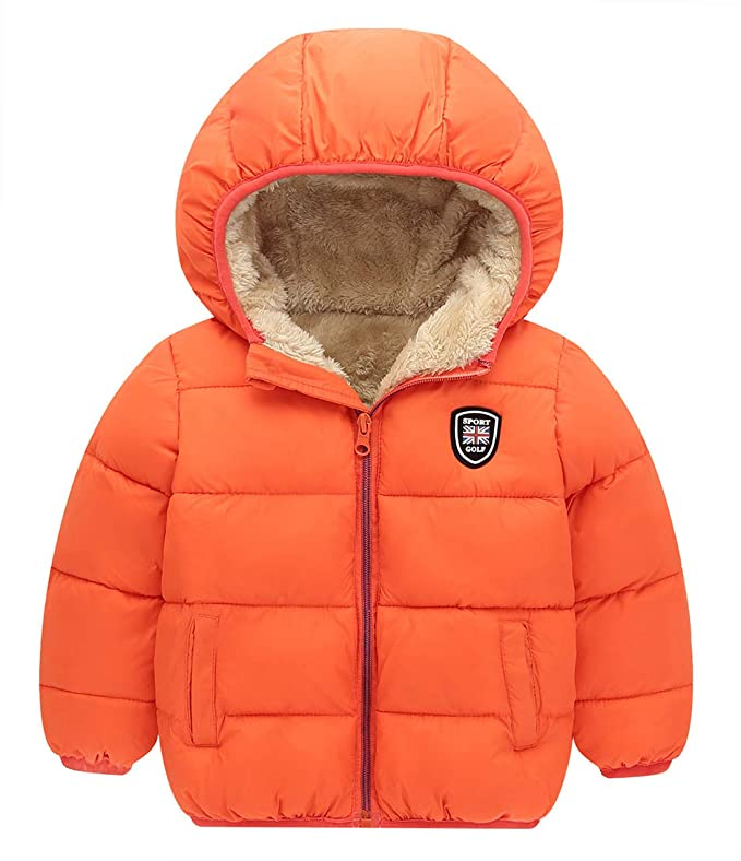 Happy Cherry Toddler Baby Hooded Thick Coat Zipper Puffer Winter Jacket Down Padded Outwear Soft Fleece Lined Warm Coat Comfortable Cotton Hoodies Orange 3-4T