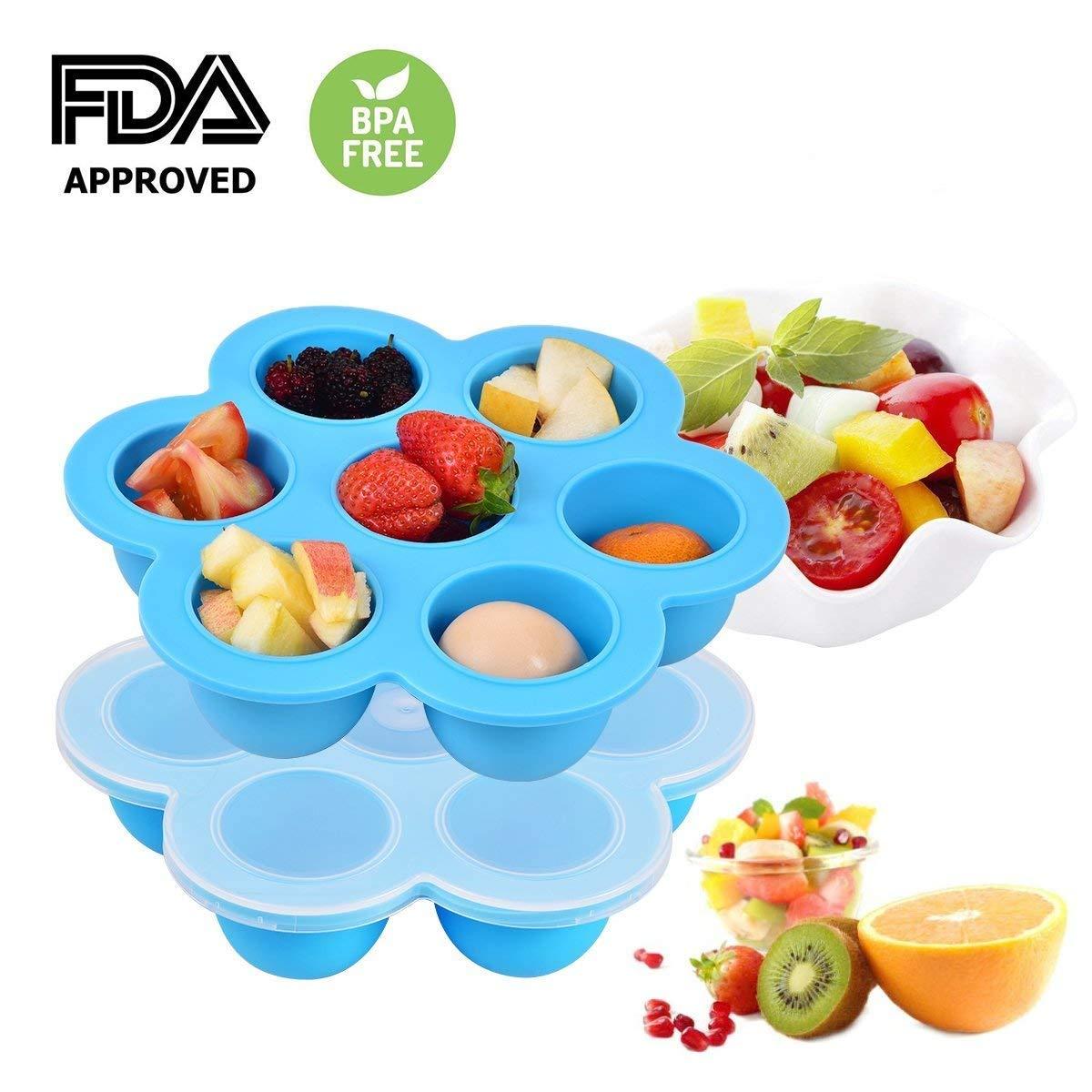 Silikon Babynahrung Aufbewahrung,Adkwse Mehrzweck Einfrieren Babybrei mit Auslaufsicherem Verschluss BPA-frei & FDA zugelassen, Silikon Gefrierform zum Einfrieren, Aufbewahren und Backen. (Blau)
