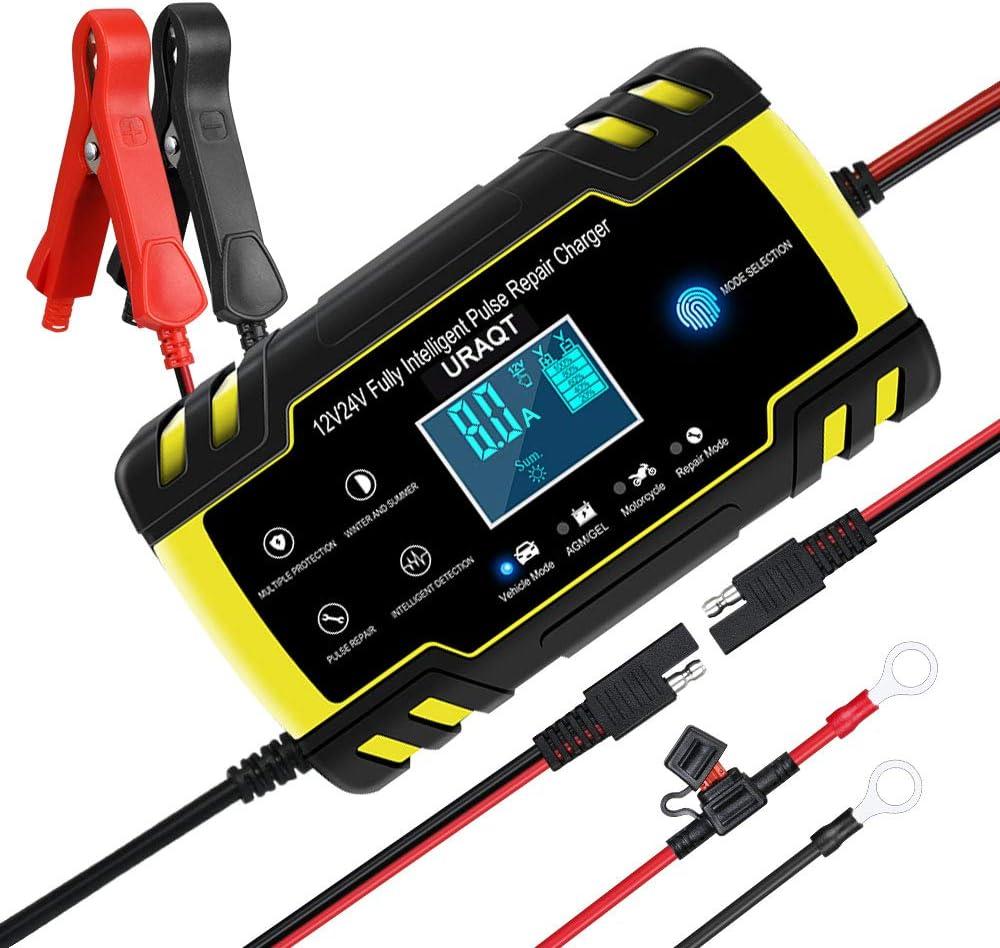 URAQT Cargador Baterias Coches de 8A 12V/24V Mantenimiento Automático e Inteligente Múltiples Protecciones LCD y Botón de la Pantalla Táctil para Automóvile, Motocicleta