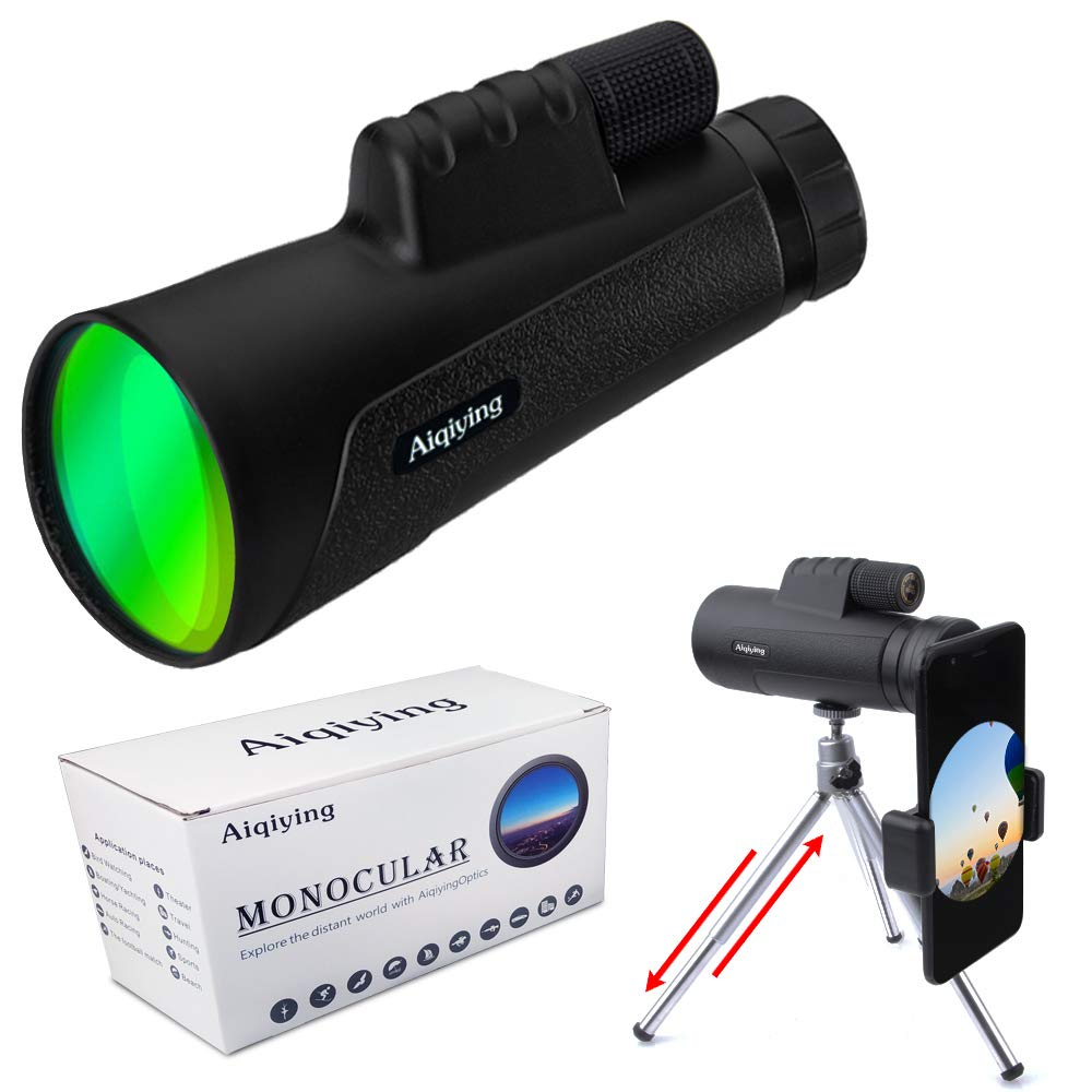 Monocular Telescope, 12X50 High Power Prism Monocular and BAK4 Prism FMC Waterproof Fog & Proof Shockproof Scope for Adults with Smartphone Holder & Tripod for Bird Watching, Hunting, Camping,Hiking