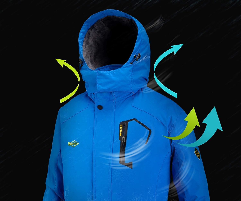 Wantdo Giacca da Sci Impermeabile Antivento Montagna Cappotto con Cappuccio Invernale da Neve Parka Outdoor Caldo Uomo