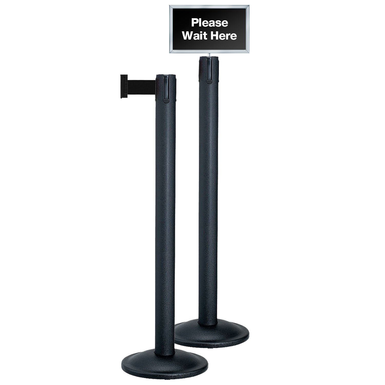 Beltrac Stanchion 2 Post Queue Line Kit, Black Post with 7 foot Black Belt and Sign