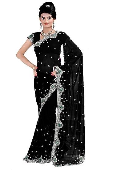 796844d971 Mirchi Fashion Women's Designer Sequins Wedding Traditional Indian  Bollywood Designer Saree Black