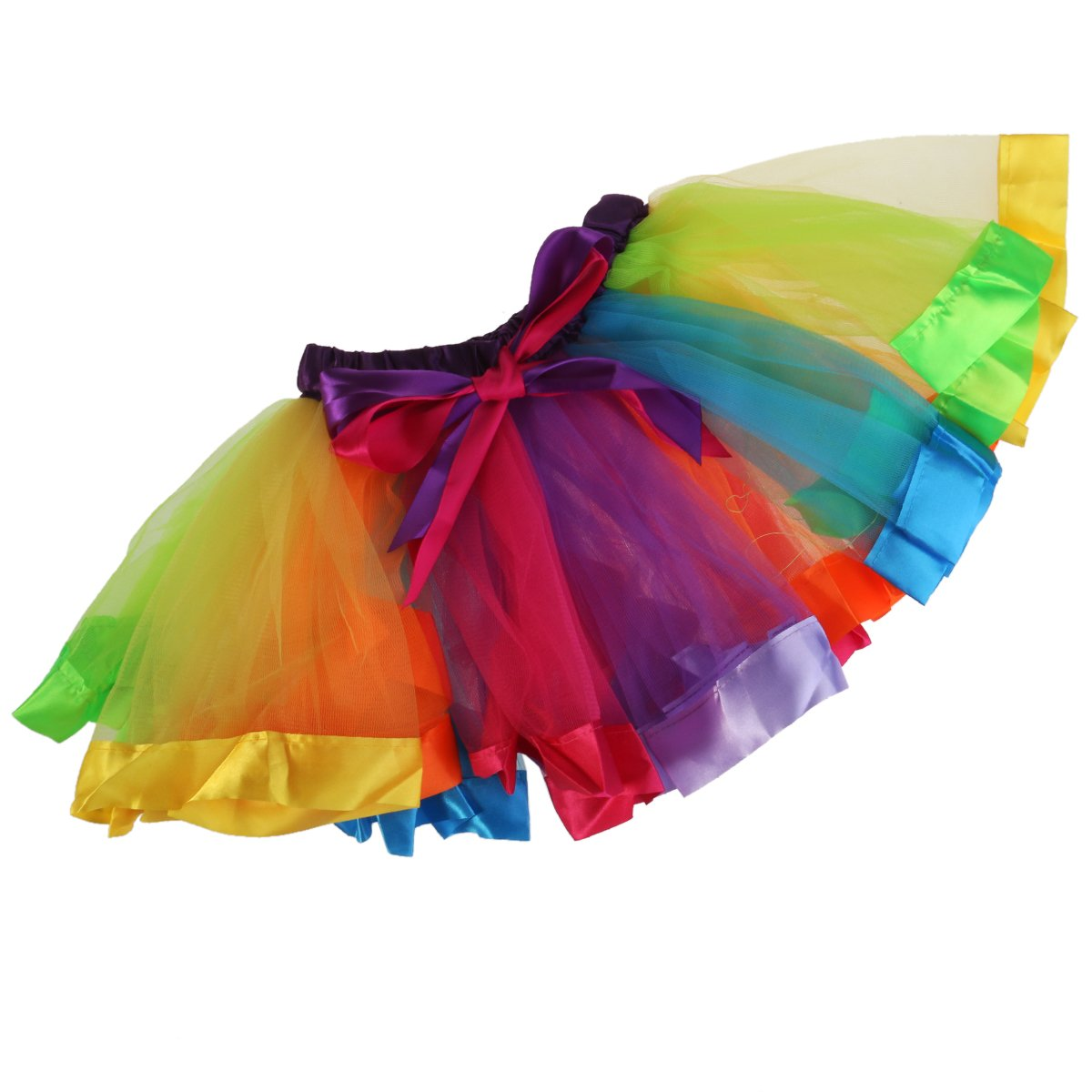 OULII Regenbogen Tutu Rock Mädchen Kinder Geschichteten Rainbow Regenbogen Tutu Ballettrock Tanzkleid Ballettkleid Ballettröckchen Rock - Größe L