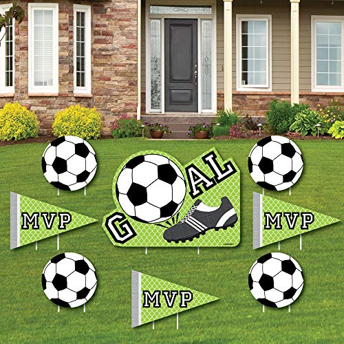Goaaal - Soccer - Yard Sign & Outdoor Lawn Decorations - Baby Shower or Birthday Party Yard Signs - Set of 8