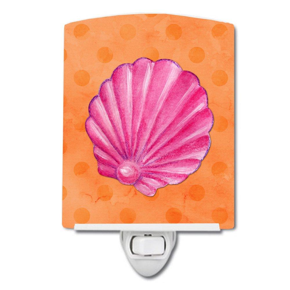 Carolines Treasures Pink Sea Shell Orange Polkadot Ceramic Night Light 6x4 Multicolor