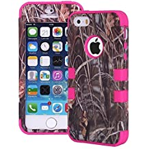 Tech Express (Tm) Camouflage Mossy Oak Grass Series Real Camo Tree 3-Layer Hybrid Impact Defender Cover Case for Apple iPhone 5 / 5s (Hot Pink)