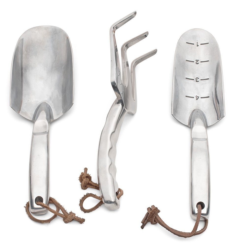 Set of Three Extra Tough Cast-Aluminum Gardening Tools -Trowel, Shovel, and Fork by Kings County Tools