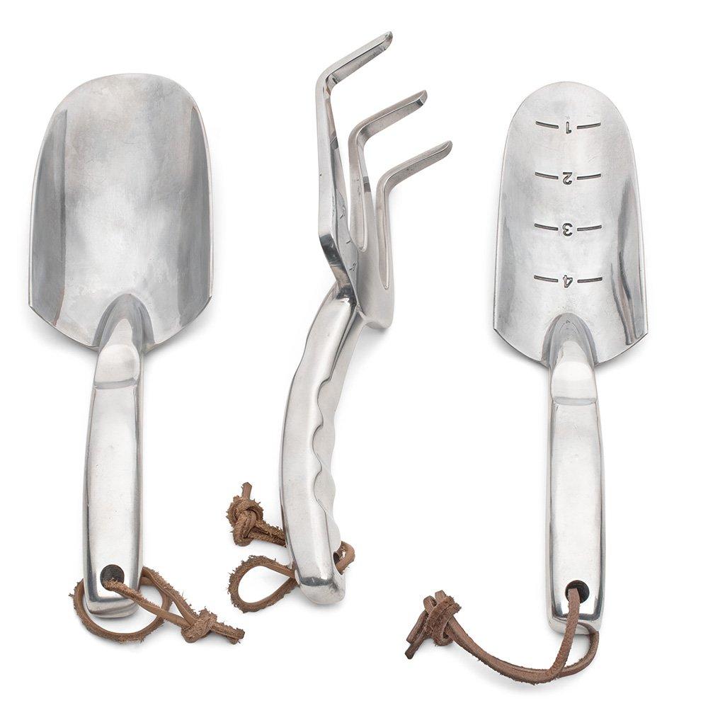 Set of Three Garden Tool Set - Extra Tough Cast-Aluminum Trowel, Shovel, and Fork Gardening Set
