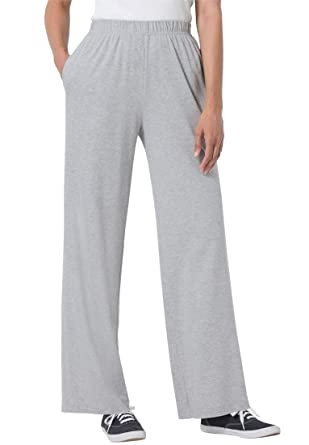Women's Plus Size 7-Day Knit Pants With Wide Leg at Amazon Women's ...