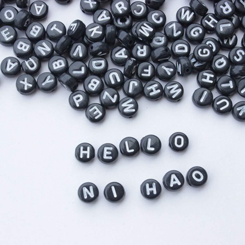 ARTLILY 260 Piezas de Letras del Alfabeto Perlas de acr/ílico Granos para la joyer/ía Haciendo Pulseras Collares Blanco y Negro