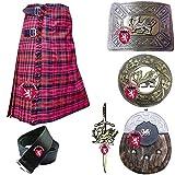 Men's Scottish Highland Kilt Set Out Fit 8 Pcs Various Tartans Acrylic Wool Pin Brooch Belt Buckle Sporran (Macdonald Tartan, 50'')
