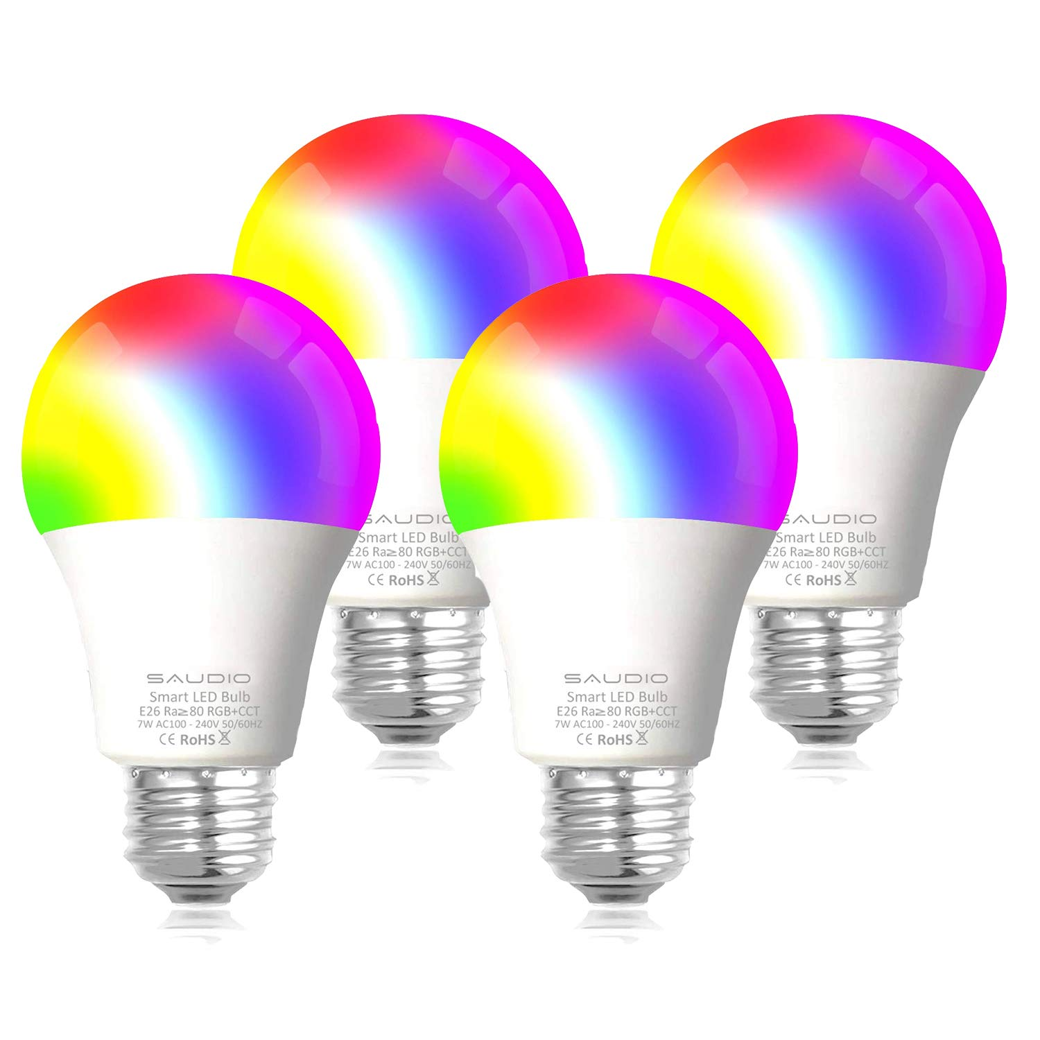 Smart LED Light Bulb E26 WiFi Multicolor Light Bulb Work with Siri,Alexa, Echo, Google Home and IFTTT (No Hub Required), Saudio A19 60W Equivalent RGB Color Changing Bulb(4 Pack)