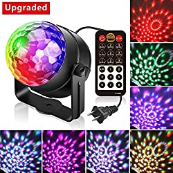 Alviller Party Lights, Led Disco Ball Lights DJ Light Mirror Ball Sound Activated Strobe Light 9 Modes Stage Par Karaoke Lights Lamp with Remote for Kids Birthday Christmas Dance Party Club Wedding
