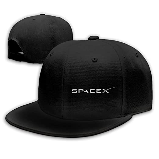 MzuII23oIt SPACEX Baseball Cap Flat Hat Unisex Snapback Cap Black at ... 735e449b2a8