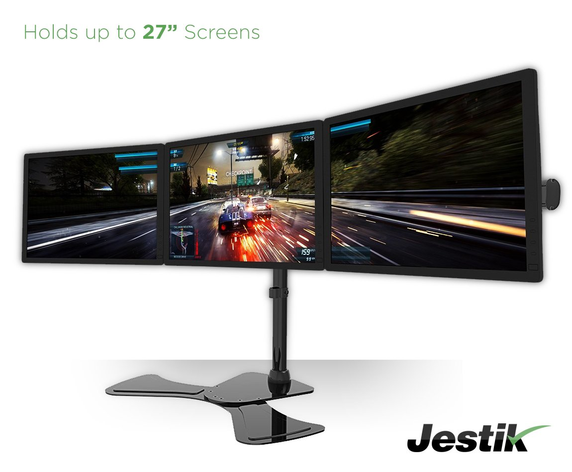 Jestik Arc Triple Monitor Stand - LCD Monitor Stand, Monitor Mount, Triple Monitor Arm - Shift The Way You Work - Holds 3 Screens Up To 27'' Monitors, 17.6 lbs Capacity Per Mount by Jestik