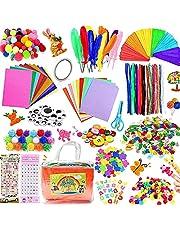 Knutselset voor kinderen, 1000 stuks, doe-het-zelf knutselkoffer, doe-het-zelf knutselkoffer, inclusief parels, veren, pijpenreiniger, scrapbooking, pompons, wiebelogen, pailletten, knutselbenodigdheden voor kleine kinderen