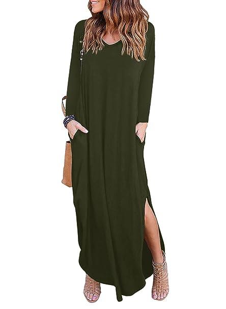 MYSHOW Donna Maxi Abito con Manica Lunga con Tasca Fessura Laterale Casual  Allentata Girocollo Stretch Lungo T-Shirt Vestito  Amazon.it  Abbigliamento 107a2b5c06a