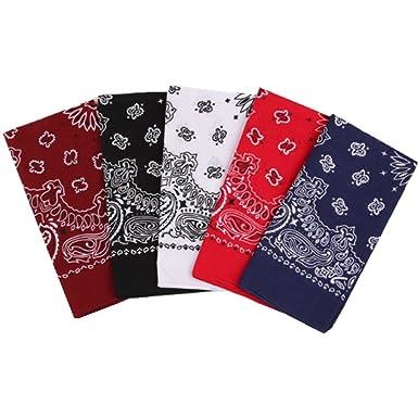 5c30f314259 Freessom Lot de 5 Bandana Cheveux Homme Femme 100%Coton Motif Paisley  Vintage Original Bandeau
