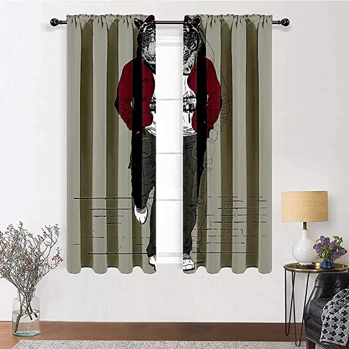 Amazon Com Window Curtain Panel Modern Privacy Protect Window Drapery Hipster Tiger In Sportswear Taking A Walk Adaptation To Urban City Theme For Kitchen Dining Room Bedroom 2 Rod Pocket Panels 38 W X