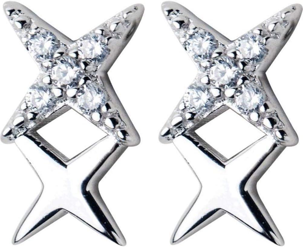 WOZUIMEI S925 Pendientes de Estrella de Plata Femenina Estilo de Arte Coreano Diamante Estrella de Cuatro Puntas Dulce Luz FemeninaUn par