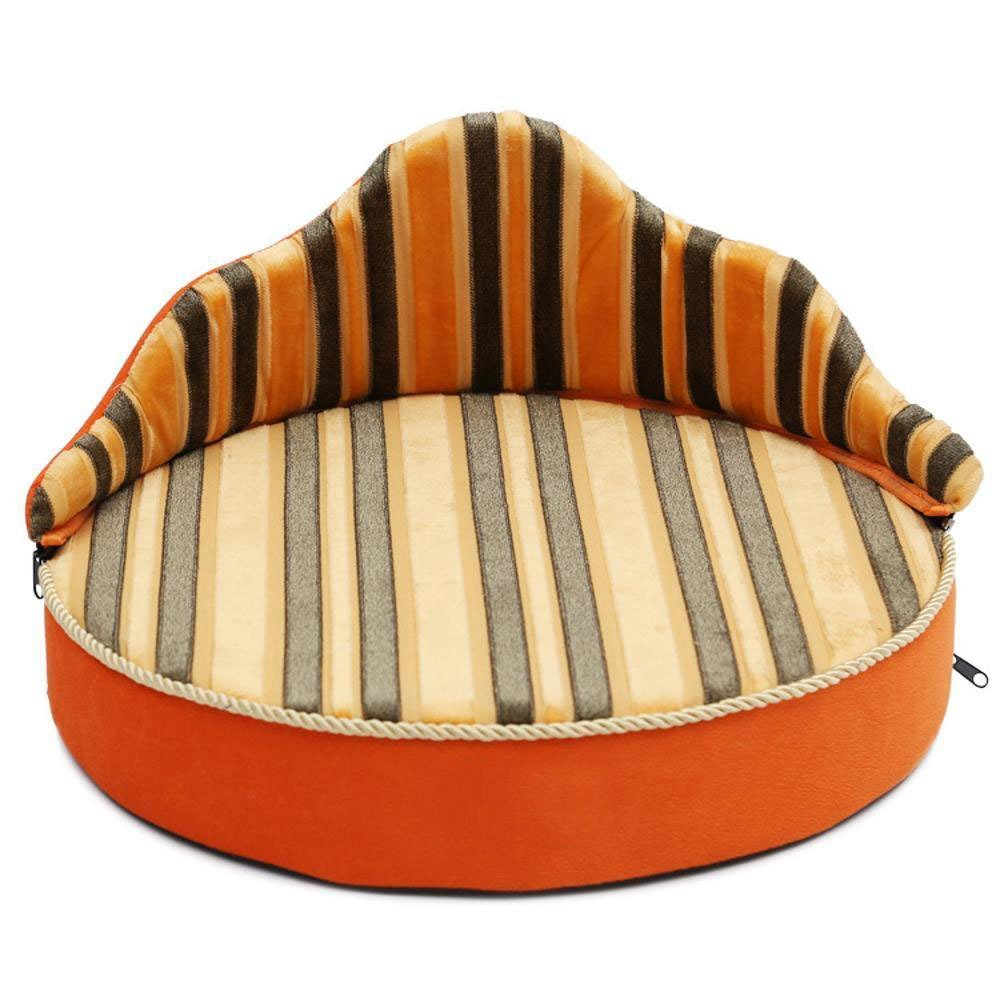 B WUTOLUO Pet Bolster Dog Bed Comfort Striped Pet Sofa pet dog Cat High back Phnom Penh nest (color   B)