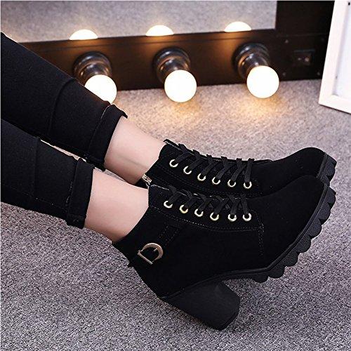Negro Cordones de Mujer para Boots Martin Botas nW0YqUx
