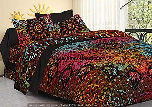 GANESHAM Indian Hippie Gypsy Home Decor Tapestry Boho Quilt Cover Throw Blanket Cotton Reversible Queen Tie & Die Mandala Duvet Cover Comforter Set ()