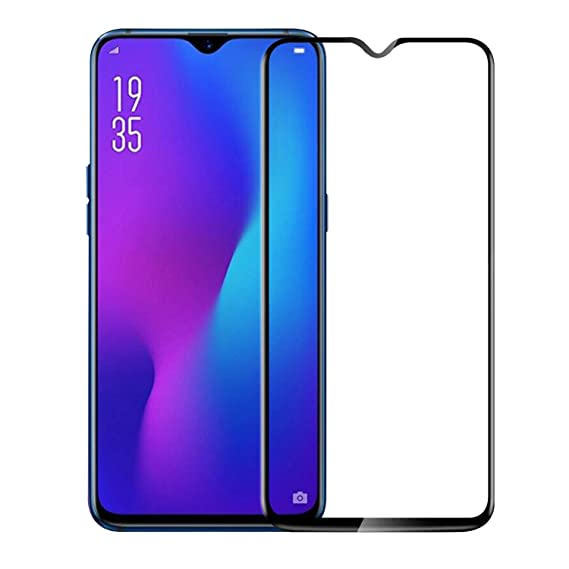 Hupshy Edge to Edge Curved Full Tempered Glass Screen Guard for Oppo K1   Black  Pack of 1  Screen guards