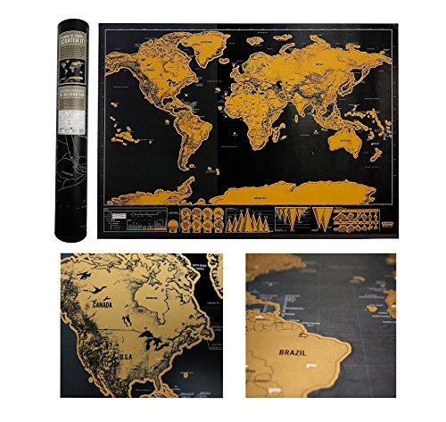 Luxury Edition Black Scrape World Map Deluxe Travel Scratch World Map Travel Map Poster Best Present for - World Of Luxury