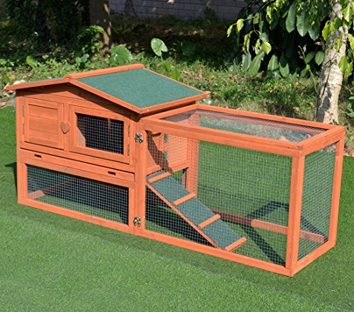 Good life wooden outdoor bunny hutch rabbit cage chicken for Wooden rabbit hutch plans