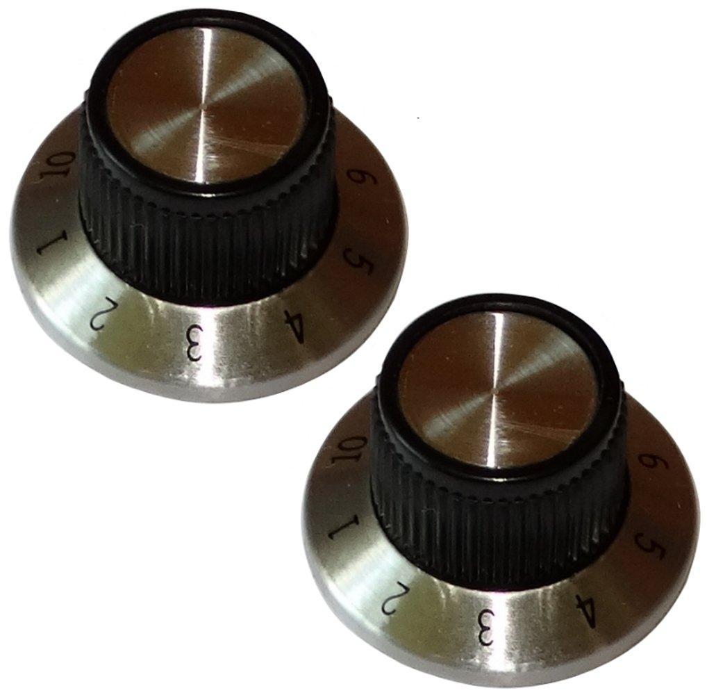 AERZETIX: 2 x Boton de potenciometro para eje 6mm 6.35mm Ø 15, 2x14, 2mm negro/cromo SK2-C12100-KU4K5