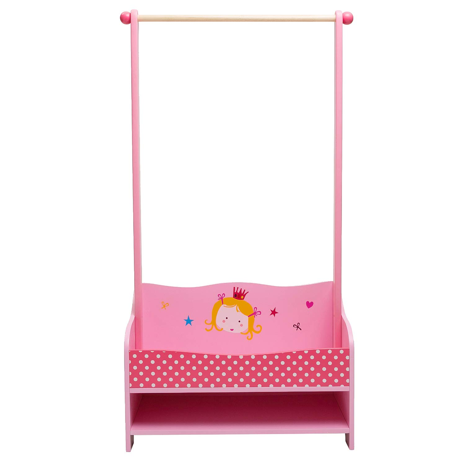 ❤[ Clearance-$5 ] labebe 3-in-1 Pink Baby Clothes Rack, Baby Garment Rack in Wood for Girls of 2-5 Years, Kid Clothes Rack Shelf/Boutique Clothes Rack Organize/Girl Clothes Rack Stand/Storage Rack