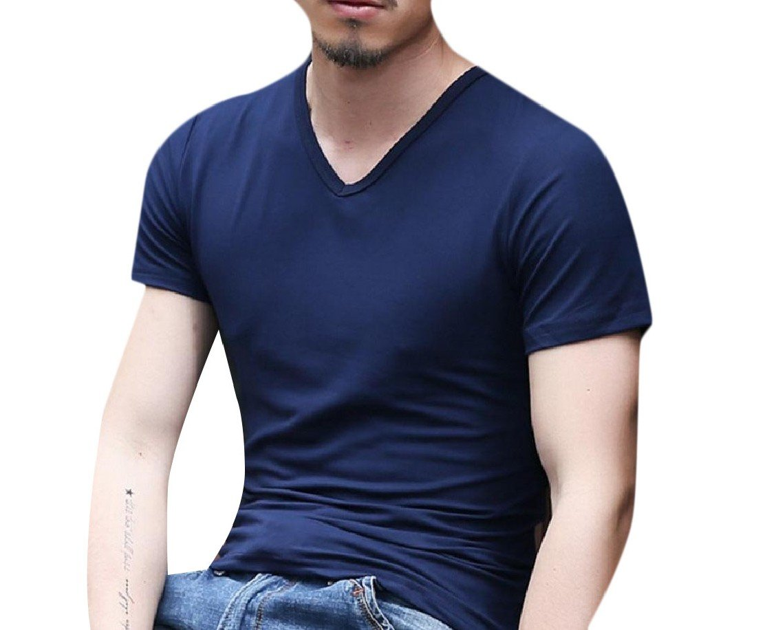 Comfy-Men Solid Short Sleeve V Neck Stitching Casual Pullover Tunic Top Pattern12 XL