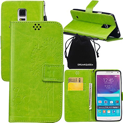 DRUnKQUEEn Note 4 Case, Galaxy Note4 Case, Wallet Case with Cellphone Holder - PU Leather Cover Purse Slim Fit Card Slot for Samsung Galaxy Note4 N910 (Aerator Shell)