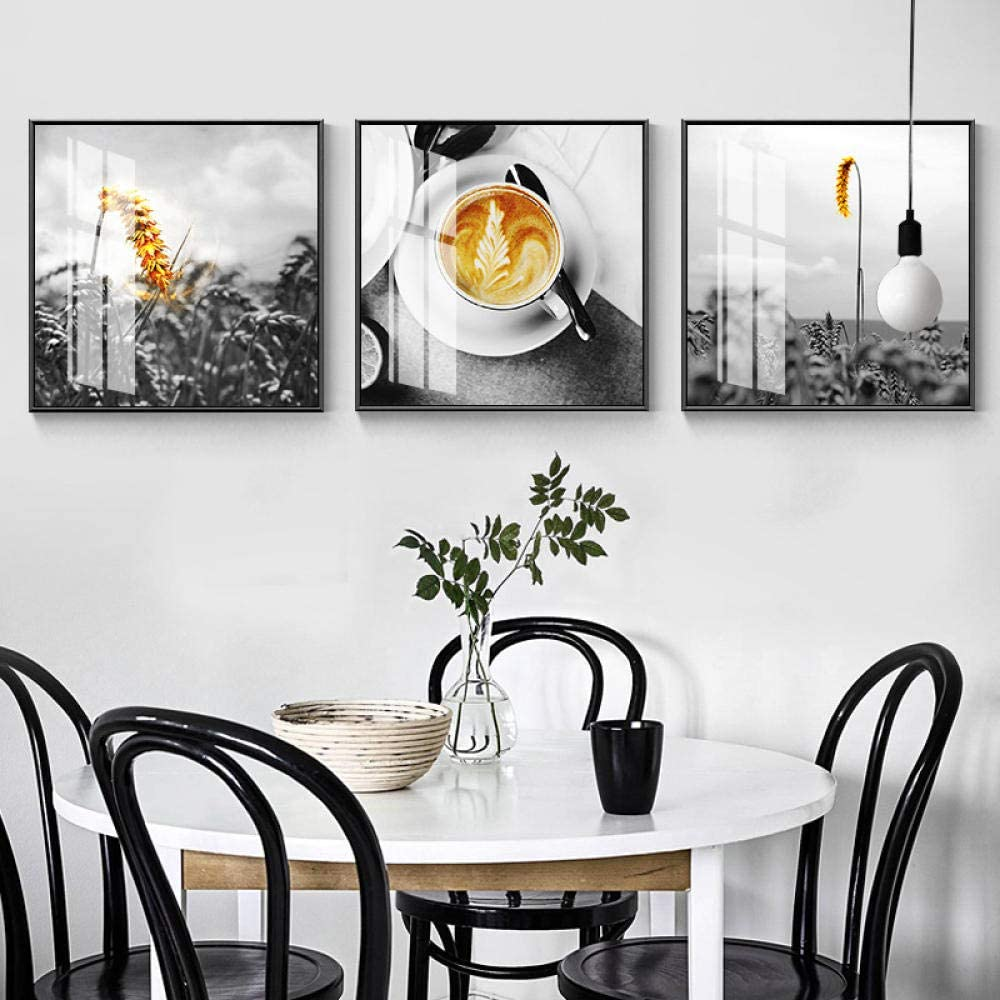 Amazon Com Canvas Painting Northern European Style Wall Black White Modern Art Kitchen Home Mural Tea Wine Dining Room 50x50cmx3 No Frame Posters Prints
