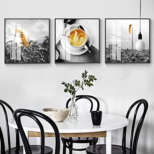 Amazon Com Canvas Painting Northern European Style Wall Black White Modern Canvas Painting Wall Art Kitchen Home Mural Tea Wine Dining Room 50x50cmx3 No Frame Posters Prints