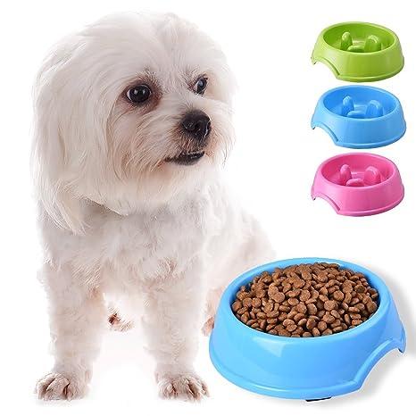 Plástico Gato Perro Cachorro antideslizante lento comer piensos Bowl Agua Alimentos plato, color es al